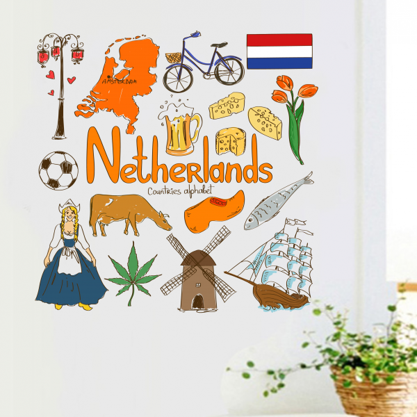 Countries Alphabet Netherlands Illustration Travel The Word Landmark Wall Sticker Wedding Decor Vinyl Waterproof Wallpaper Decal
