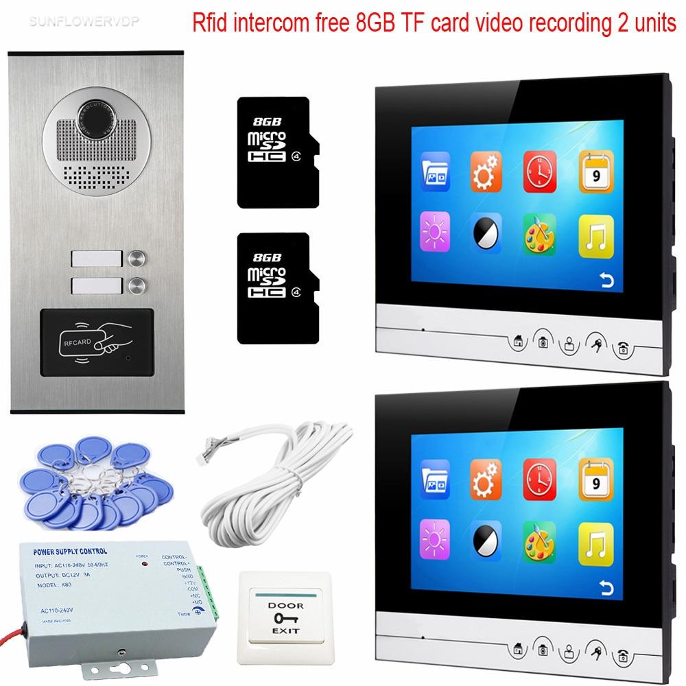 2 Buttons Rfid Camera Video Intercom With Recording 8GB TF Card Video Door Phone Doorbell intercom 7