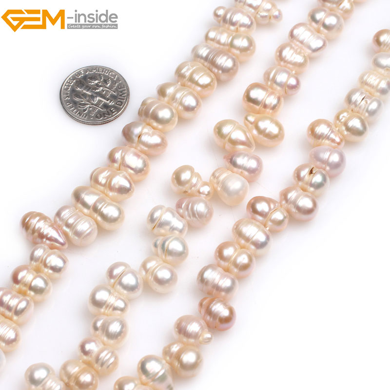 Gem-inside Natural 3/7 Top Drilled White Mixed Color Freshwater Cultured Pearls Beads for Jewelry Making 15'' DIY Jewellery