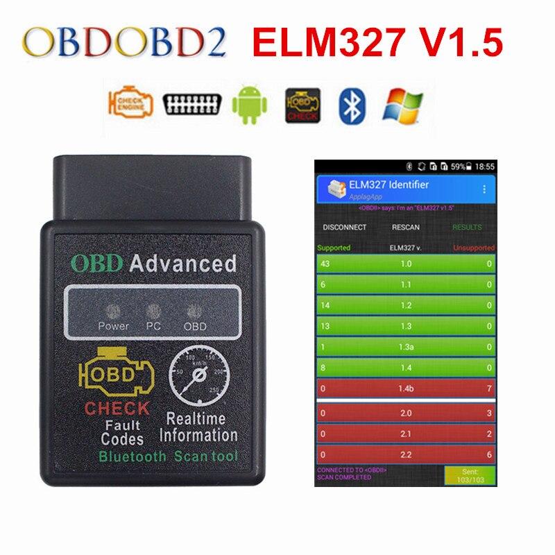 Date V1.5 Mini HH ELM327 Bluetooth OBD2 Lecteur de Code ELM 327 Sans Fil Pour Android/Symbian Soutien 12 Multi-langues Bateau Libre