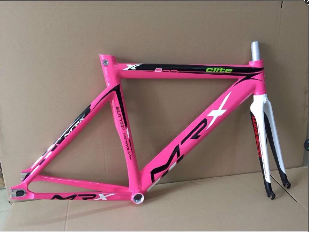 Cool price Wissco MRX  break wind aluminum alloy 735 frame 700c 52cm pink green white  fixed gear bike frame with fork