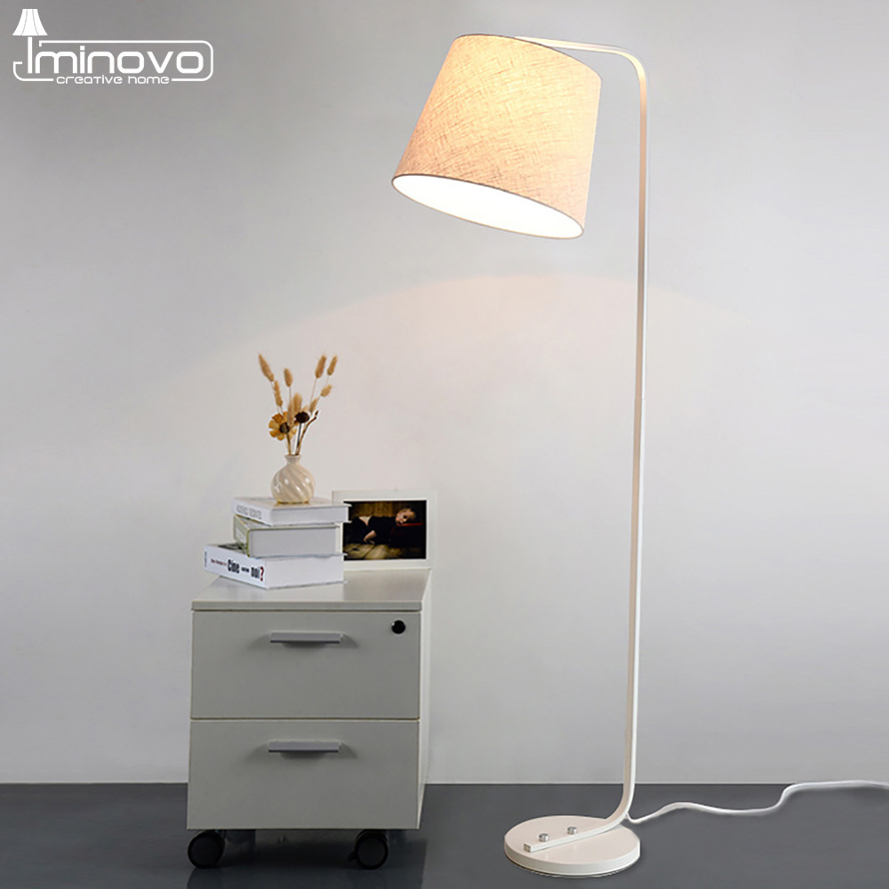 iminovo linen lampshade floor lamp hom lighting decoration eye protection indoor lights lamps for reading e27 cheap floor lighting