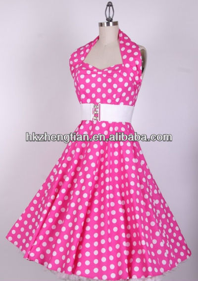 Popular Pink and White Polka Dot Dress-Buy Cheap Pink and White ...