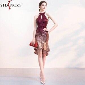 Image 2 - YIDINGZS ホルターエレガントなスパンコールウェディングドレスショートフロントロングバックスパークルイブニングパーティードレス YD661