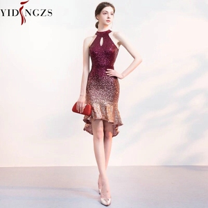 Image 2 - Yidingzs Halter Elegant Sequin Prom Dress Korte Front Lange Back Sparkle Avond Party Dress YD661