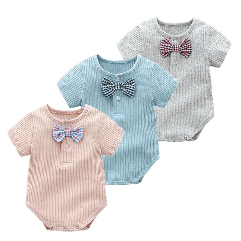 Fashion 2018 summer baby boy bodysuit gentleman cute Bow tie baby clothes boy cotton short sleeve infant boy clothing body ribbon tie shoulder bodysuit