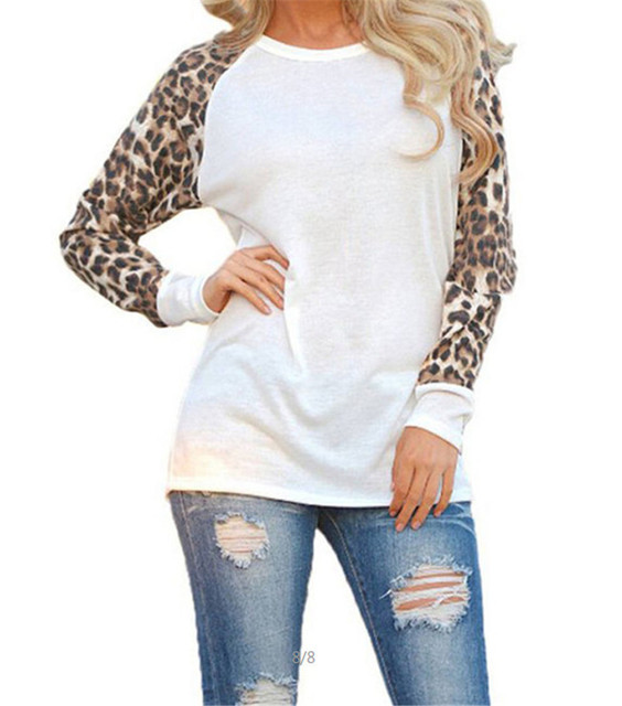 Leopard Long Sleeve O-neck Casual T-Shirt/ Pullover