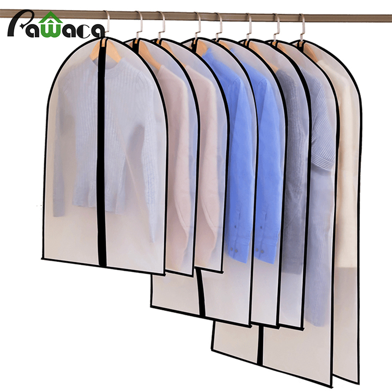 6pcs/set Clothing Covers Clear Suit Bag Moth Proof Garment Bags Breathable Zipper Dust Cover Storage Bags For Suit Dance Clothes