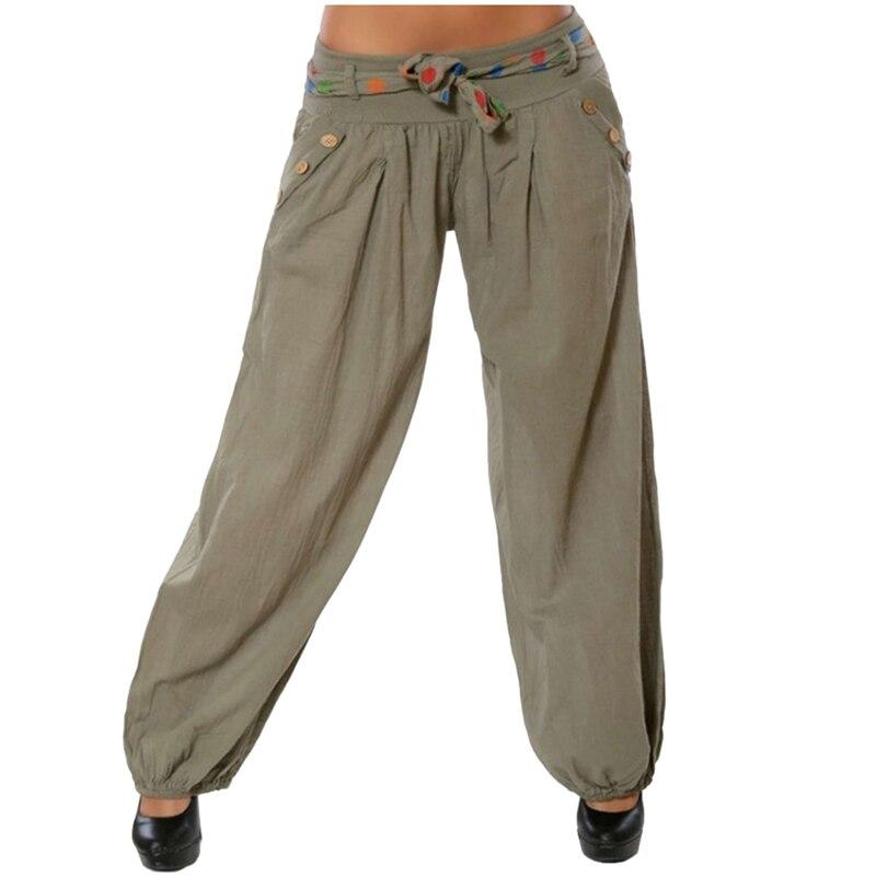 LAAMEI New Summer Women Solid Casual Loose Pants Low Waist Wide Leg Pants Capri Pants Bloomers with Belt Button Decor Pants
