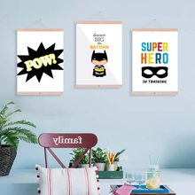 Canvas Painting Superhero Batman Letter Watercolor Nordic Poster Print For Kids Baby Girl Room Scandinavian Decoration(China)