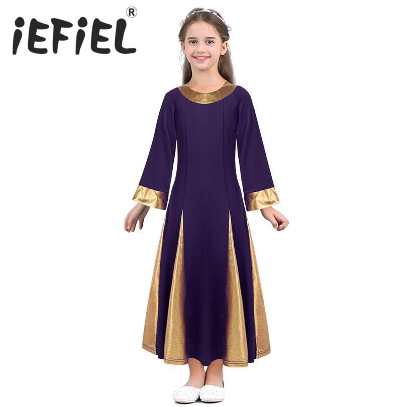 iEFiEL Kids Girls Child Long Sleeves Metallic Collar and Cuffs Robe Ballet Dance Dress for Celebration of Spirit Praise Dance