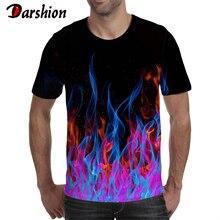 Darshion Red Flame, Мужская футболка, летняя, повседневная, черная, 3d, Мужская футболка, аниме, топ, хип-хоп, уличная одежда, футболка с коротким рукавом