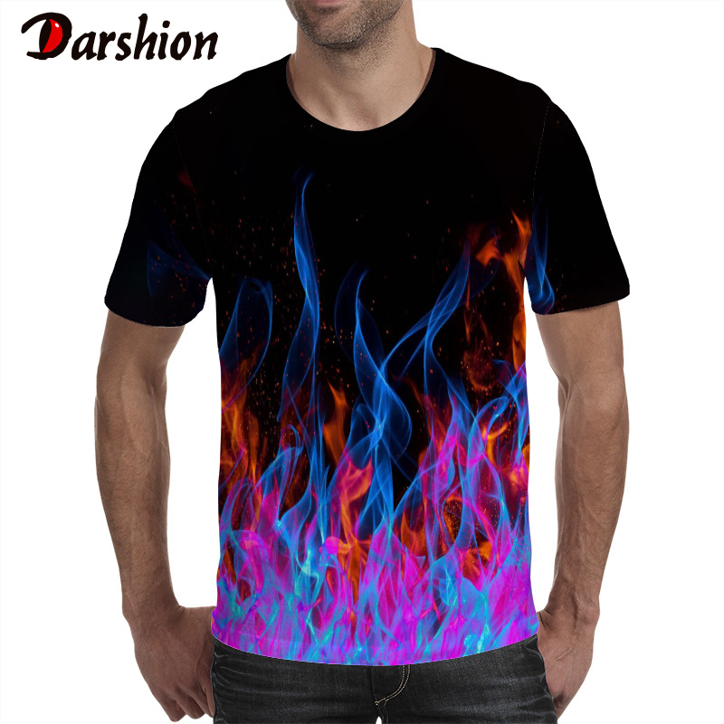 Darshion Red Flame Men Tshirt Summer Casual Black 3d Men T-shirt  Anime Tee Top Hip Hop Street Clothing Short Sleeve Tshirt