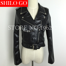 2016 fashion new autumn winter women s high quality European lapel rivet zipper tide motorcycle Faux
