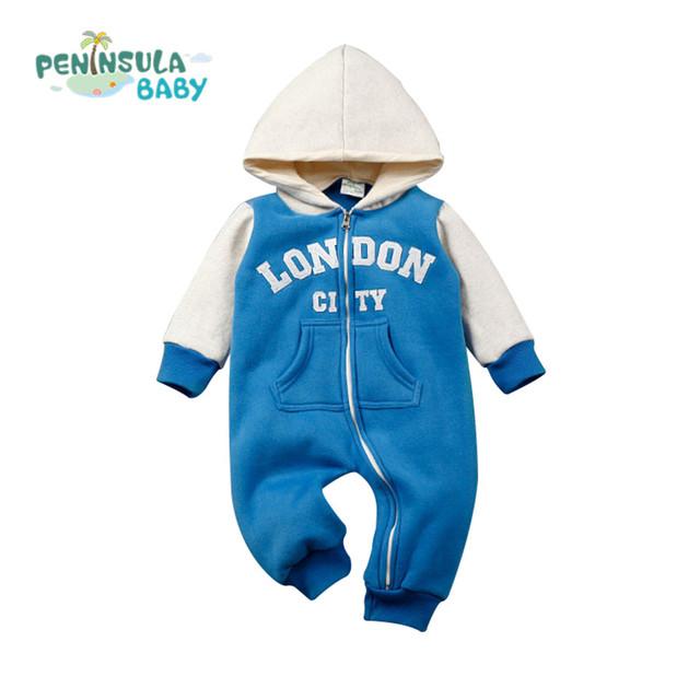 Macacão de Bebê recém-nascido Menino Velo Cidade Letras Body Suit Com Capuz Roupas de Algodão Da Criança Macacão de Bebê Meninas Roupas de Marca