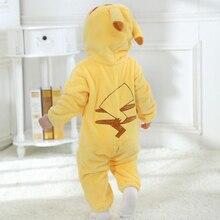 Bebek sarı Cosplay Kigurumi Romper bebek tulum Oneises yeni doğan giyim kapüşonlu yürümeye başlayan hayvan sevimli kıyafet Bebe kostüm