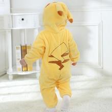 بدلة رومبير Kigurumi للأطفال الرضع باللون الأصفر مع غطاء للرأس ملابس أطفال حديثي الولادة مع غطاء للرأس على شكل حيوانات لطيفة