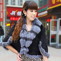 Ladies' Real Knitted Mink Fur Shawls with Silver Fox Fur Collar Women Capes Female Wraps Women Fur Poncho Outerwear Coats 0716