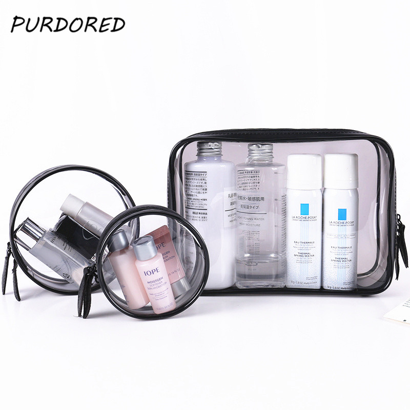 PURDORED 1 Pc Clear Women Makeup Bag Transparent Clear Zipper Makeup Bags PVC Clear Makeup Bag Toiletry Bags Dropshipping
