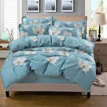 fc9d7519b Europeu pastoral conjunto de cama flor azul impressão colcha lençol fronha  capa de edredão elegante princesa