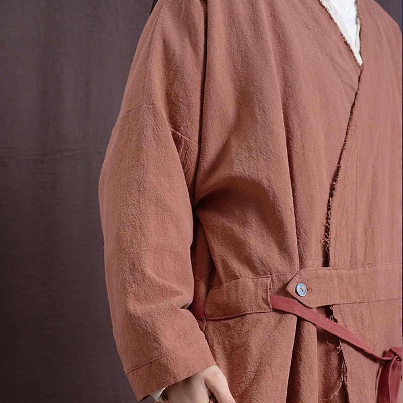 Johnature Vintage Trench E Impermeabili Biancheria di Cotone Cappotto Delle Donne 2020 New Spring Manica Lunga Con Scollo A V di Colore Solido di Stile Cinese della Fasciatura Delle Donne Cappotto