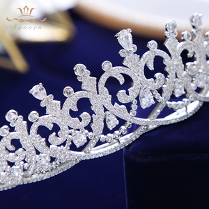 Image 5 - New Brides Heart Shape Full Zircon Brides Tiaras Crowns Sparking Bridal Hairbands Plated Crystal Wedding Hair Accessories