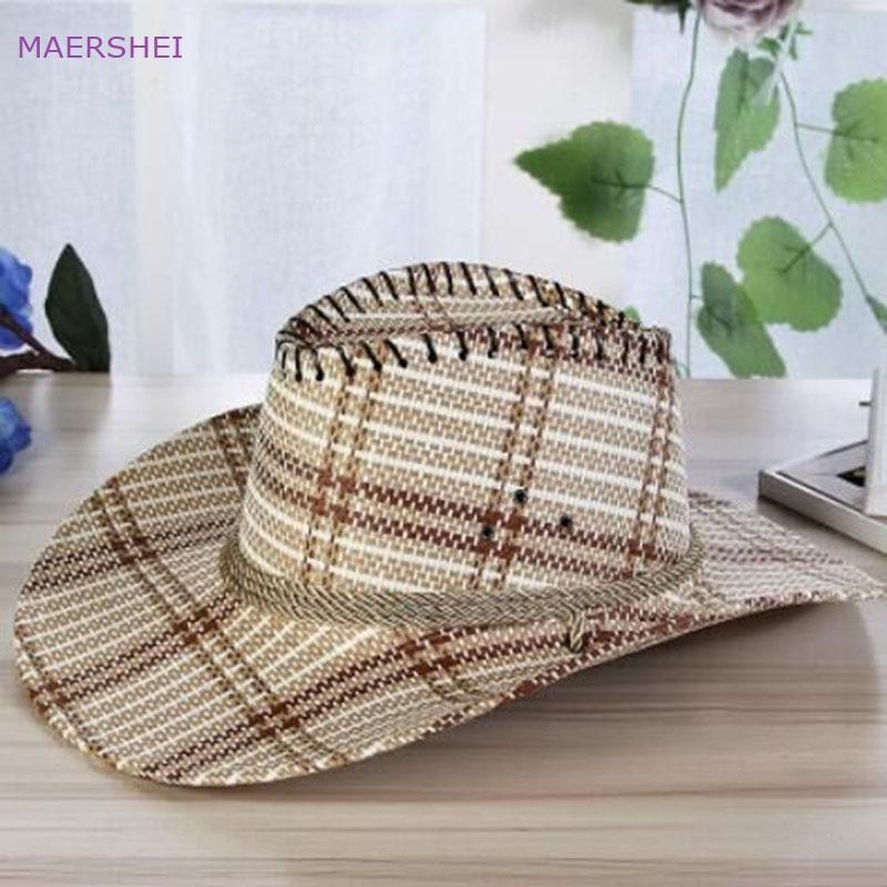 MAERSHEI 2018 Sombrero de vaquero de cuadros de paja de los hombres - Accesorios para la ropa