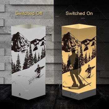 Kreative Schatten Lampe skifahrer design LED warmweiß licht zimmer cafe shop decor urlaub geschenk club unternehmen anniversary souvenir geschenk