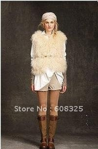 New Arrival Brand TOPSHOP premium Leather Mongolian Fur Gilet,Women's Vests,Wool Fur Vest.6,8,10,12