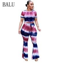 BALU Long Rompers Womens Jumpsuit Summer Two Piece Set O-Neck Short Sleeve Tie Dye Print Jumpsuit Wide Leg Pants Summer Overalls недорого