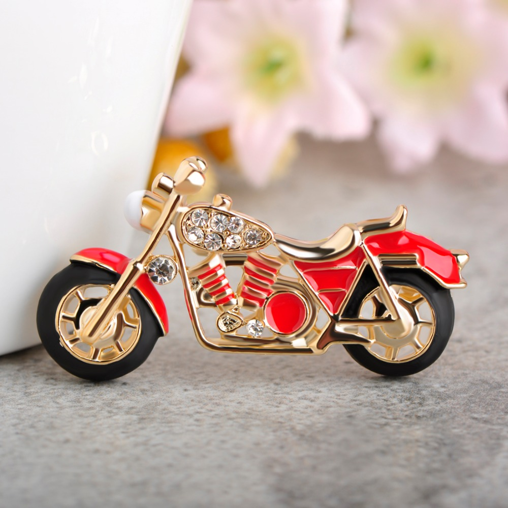 Funmor Cool Motorcycle Brooches For Boys Kids Gift Red Enamel Badge Costume Jewelry Backpack Pendant Model Cars Brooch Pins