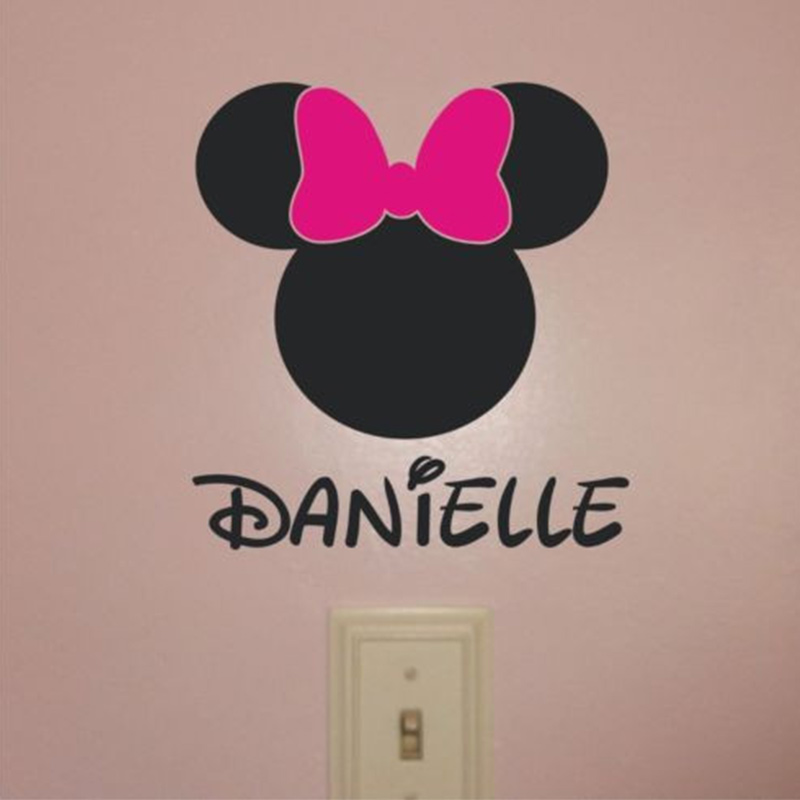 Personalisierte Name Minnie Maus VINYL WANDTATTOO 3 Größen in ...