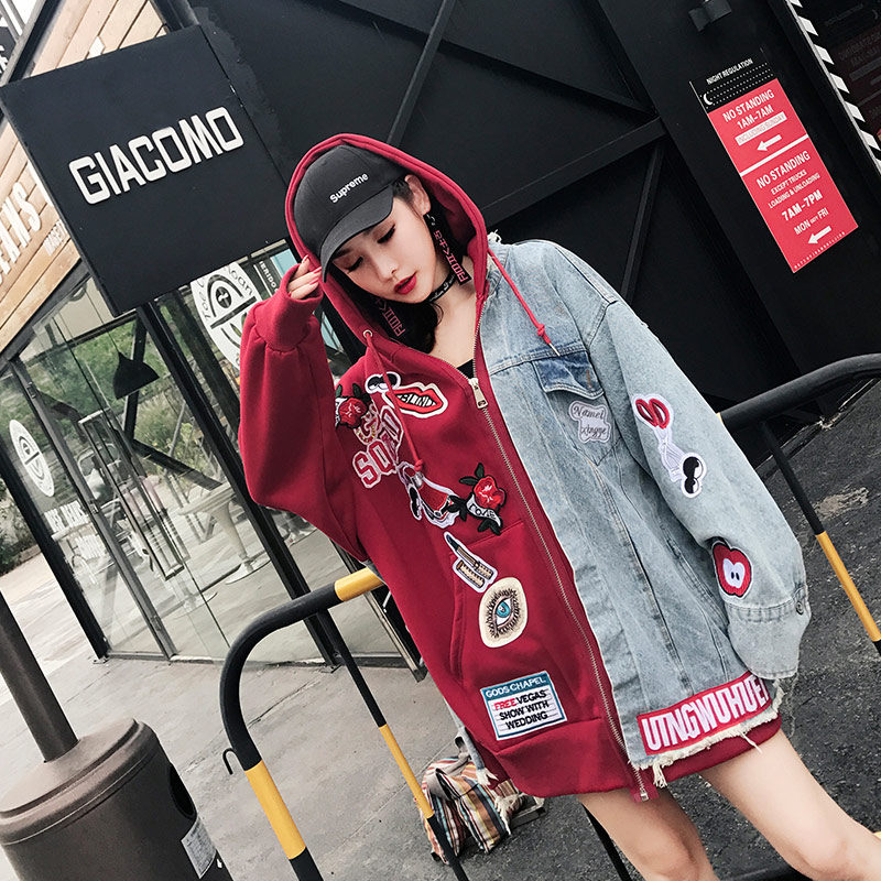TREND Setter 2018 Autumn Loose Casual Denim Jacket Hooded Women Patchs Embroidery Punk Style Red and
