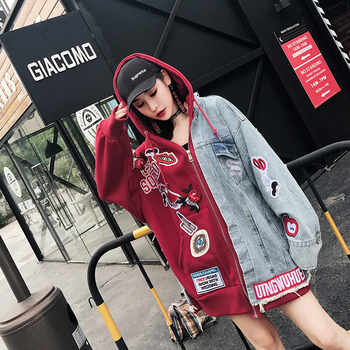 2019 Autumn Loose Casual Denim Jacket Hooded Women Patchs Embroidery Punk Style Red and Blue Jacket Oversize - DISCOUNT ITEM  5% OFF All Category