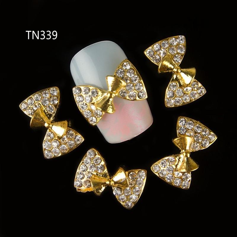 10pcs 3D Gold Nail Alloy Decoration  Bow Design Glitter Rhinestone Nail Art Tips Stickers TN339 10 x metallic 3d alloy pink bow glitter rhinestones nail art diy tips decoration