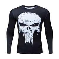 New Summer long Sleeve SPORT Fitness Compression T-Shirt Fitness 3D T-shirts Punisher Shantou Costume Comics Superhero Tight image