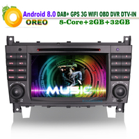 Android 8.0 DAB+ Radio WiFi 3G CD BT Head Unit DTV IN RDS DVD OBD Car GPS Navigation FOR Mercedes benz CLK Class W209 CLC W203