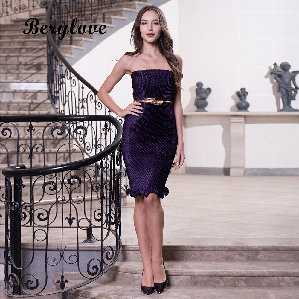 BeryLove Hot Sexy Strapless Knee Length Homecoming Dresses Custom ...