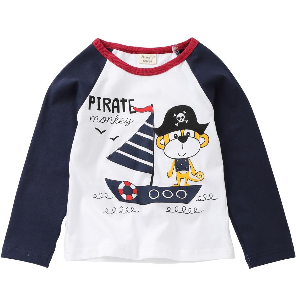New Pirate Dog Printed T Shirts Autumn 2018 Children Tops Kids Clothing Boys T-shirts Long Sleeve Girls Blouse Cotton Tshirts