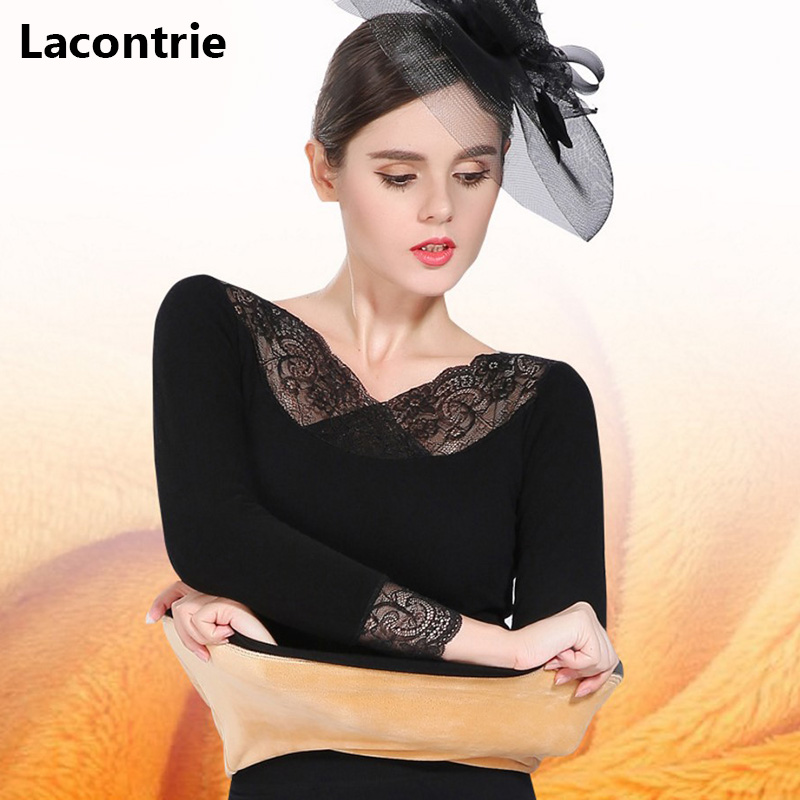 Lacontrie Fashion Women Sexy Thicken Thermal Underwear Ladies Lace Stitching Casual Fleece Warm Long Johns Sets For Winter T167