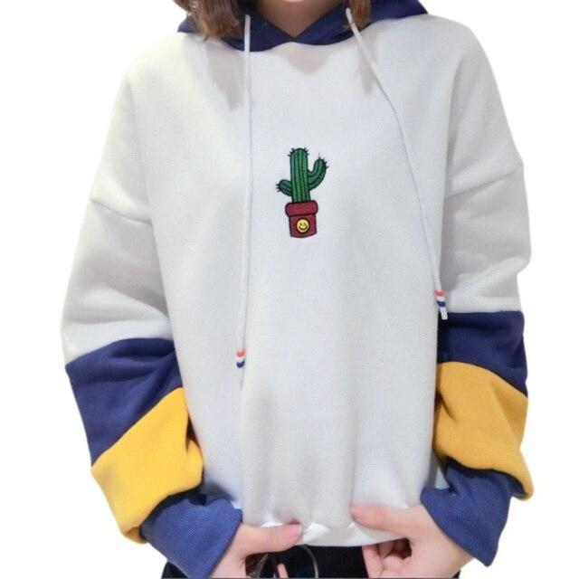 2017 Autumn Female Top Hit Colors Patchwork Cactus printing Pullover  Sweatshirt Hoodies Women Long Sleeve Rope