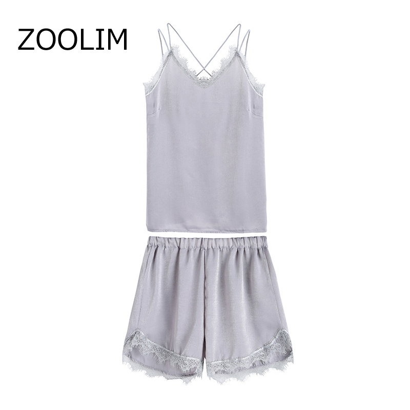 ZOOLIM Large Size S-4XL Sleep Lounge   Pajama     Set   Velvet Sleepwear Women Pyjama Lace Spaghetti Strap Sleeveless Loose   Pajamas