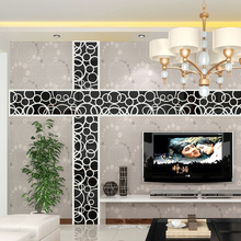 3D Mirror Stickers Wall Decal Acrylic Modern Home Decoration Decor Art DIY Poster Silver/Golden/Black