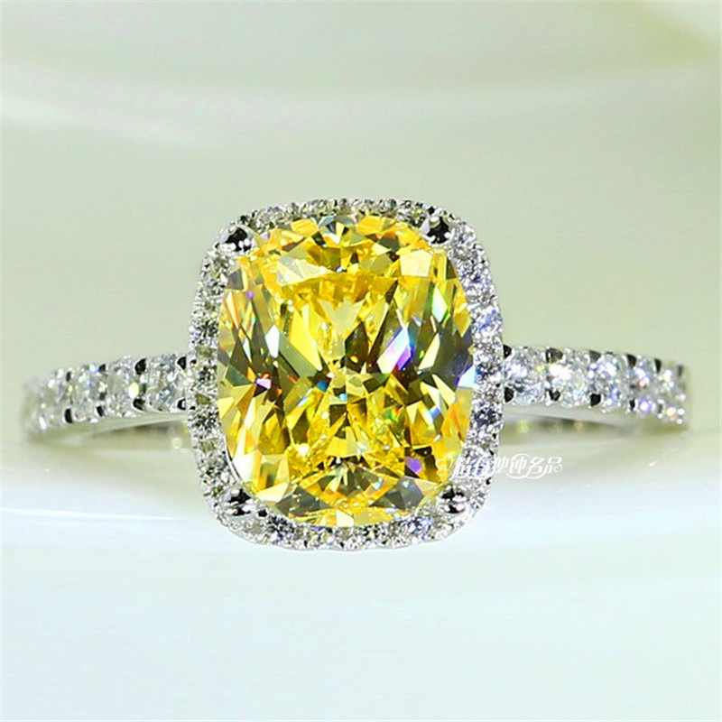 Luxury Female Girl Crystal CZ Stone Ring Boho 925 Silver White Pink Yellow Ring Promise Engagement Rings For Women