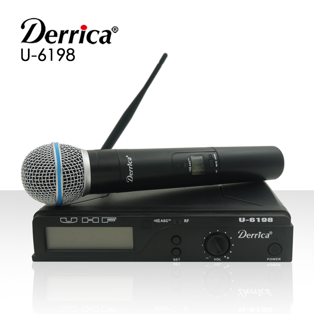 Free shipping! Derrica U-6198 Professional UHF Wireless Microphone Karaoke System with U-198 Handheld Transmitter Microfone Mic free shipping high quality version sm 58 58lc sm58lc wired vocal karaoke handheld dynamic microphone microfone microfono mic