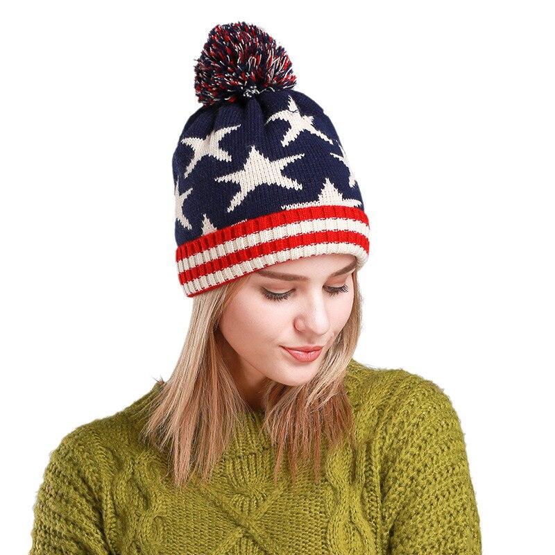 Winter Knit Hat men and women couples cap cap stars warm earmuffs