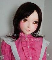New Fashion Lovely Doll Half Head Kigurumi Mask with brown Eyes/Hair Silicone Cartoon Character Kigurumi Cosplay Masks