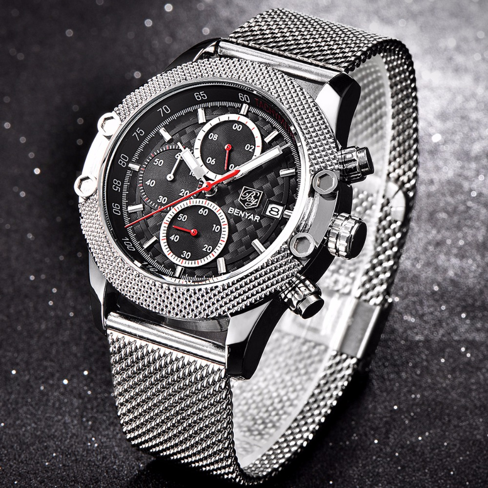 BENYAR Luxury Brand Sport Chronograph Watches Men Mesh Band Waterproof Military Quartz Watch Relogio Masculino dropshipping