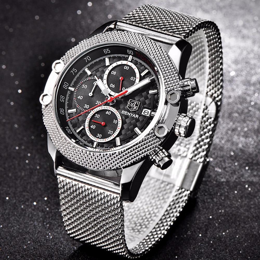 BENYAR Luxusmarke Sport Chronograph Uhren Männer Mesh Band Wasserdicht Militärischen Quarzuhr Relogio Masculino dropshipping