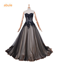 Abule trouwjurk 2017 transparante sheer Designer Modieuze real poto Sexy lace up Prinses vestidos de novia plus size